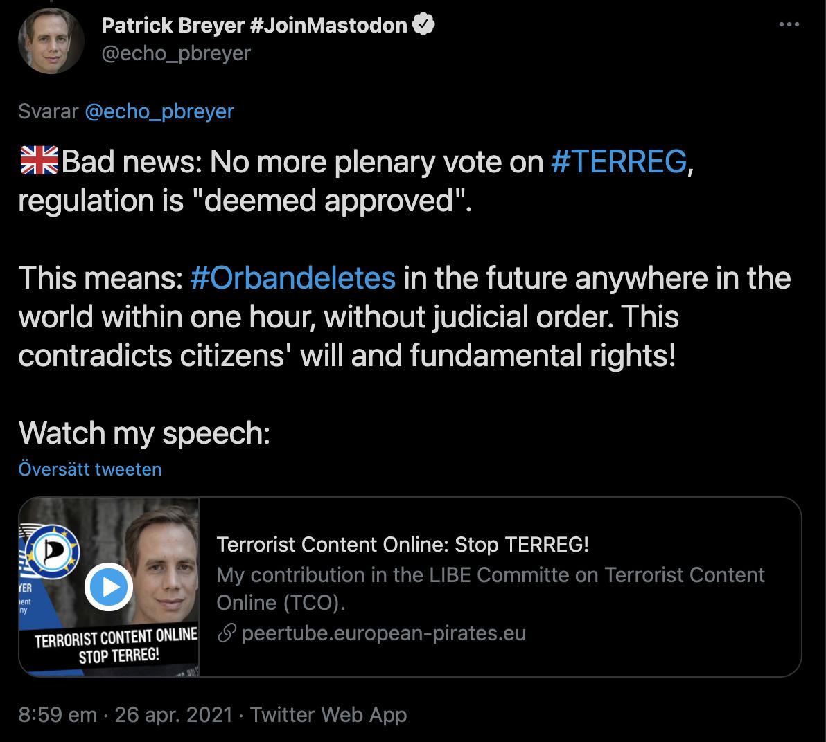 Patrick Breyer på Twitter