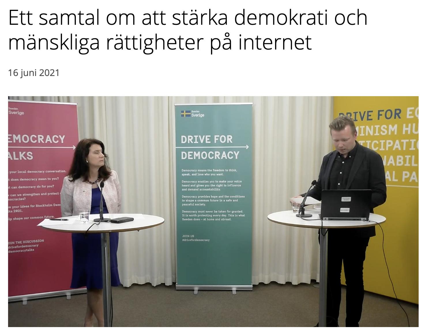 Skärmdump från Utrikesdepartementets samtal om demokrati på nätet