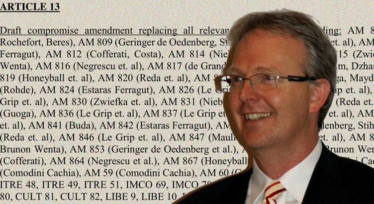Axel Voss and Article 13 of the copyright directive (montage). Photo by Tohma (CC BY-SA 4.0).