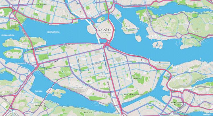 Strava heat map Stockholm